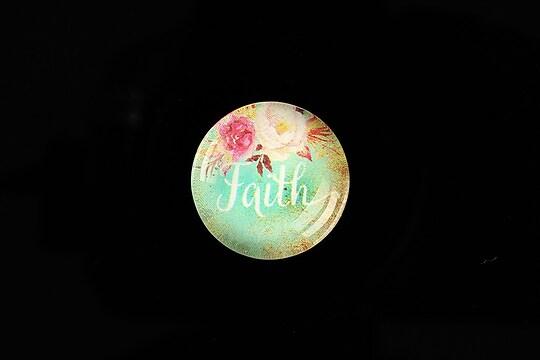 "Cabochon sticla 20mm ""Faith"" cod 963"