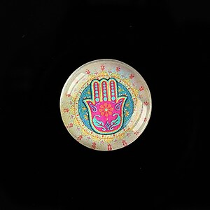 "Cabochon sticla 20mm ""Colorful Hamsa"" cod 710"