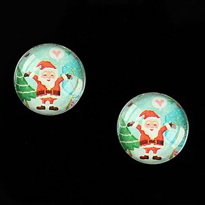 "Cabochon sticla 16mm ""Christmas"" cod 995"