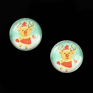 "Cabochon sticla 16mm ""Christmas"" cod 996"