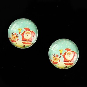 "Cabochon sticla 16mm ""Christmas"" cod 997"