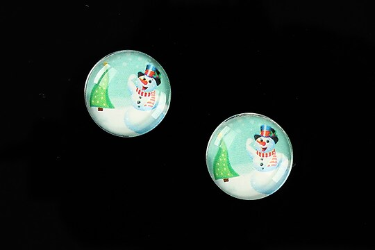 "Cabochon sticla 16mm ""Christmas"" cod 1000"