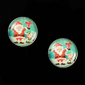 "Cabochon sticla 16mm ""Christmas"" cod 1006"