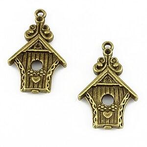 Charm bronz birdhouse 30x19mm