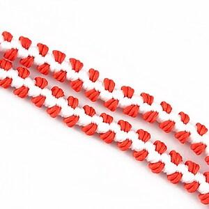 Snur elastic impletit nylon, 10x4mm  - alb - rosu