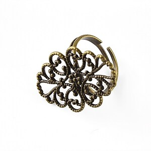 Baza de inel bronz, reglabila, baza filigranata 31x20mm