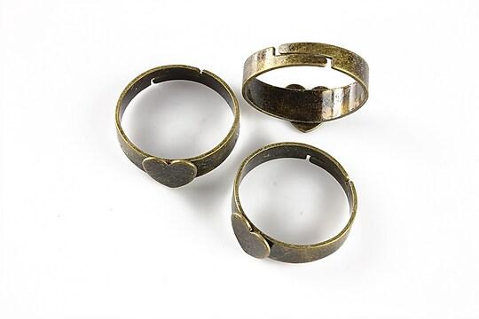 Baza de inel bronz, reglabila, platou inima 8mm