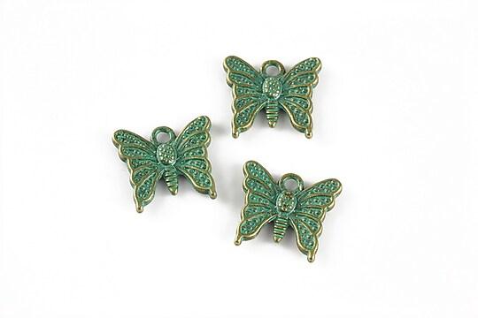 Charm bronz antichizat cu patina verde, fluture 19x15mm
