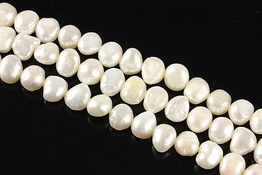 Sirag perle de cultura albe aprox. 8x6mm