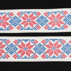 Panglica imprimata cu model folcloric, latime 2,5cm (1m) - albastru si rosu