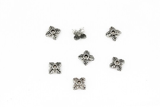 Capacele margele argint tibetan 6mm (10 buc.)
