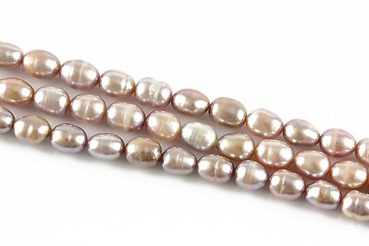 Sirag perle de cultura bob de orez mov aprox. 8x5mm
