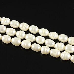 Sirag perle de cultura bob de orez albe aprox. 7x5mm