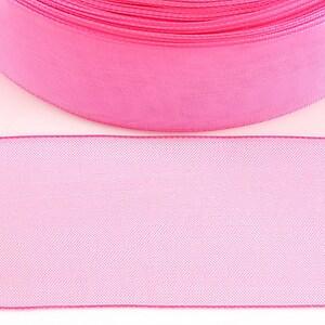 Panglica organza, latime 3,8cm (1m) - roz