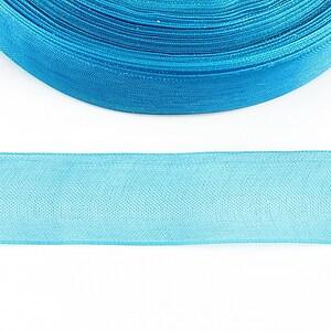 Panglica organza, latime 2cm (1m) - albastru turcoaz