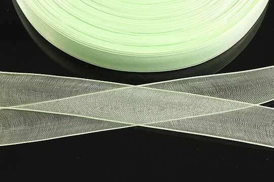 Panglica organza, latime 1,6cm (1m) - verde deschis