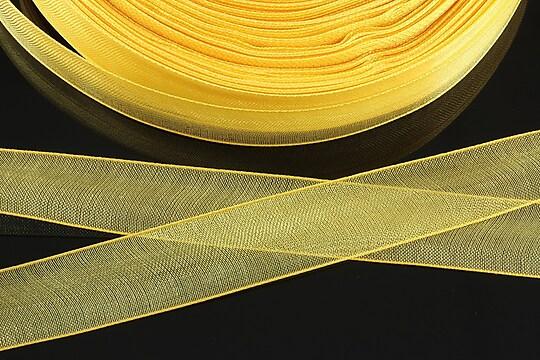 Panglica organza, latime 1,6cm (1m) - galben auriu
