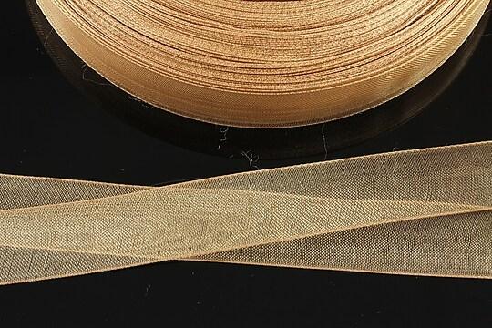 Panglica organza, latime 1,6cm (1m) - maro deschis