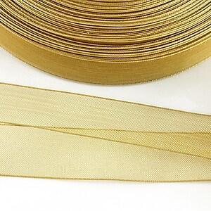 Panglica organza, latime 1,6cm (1m) - crem auriu