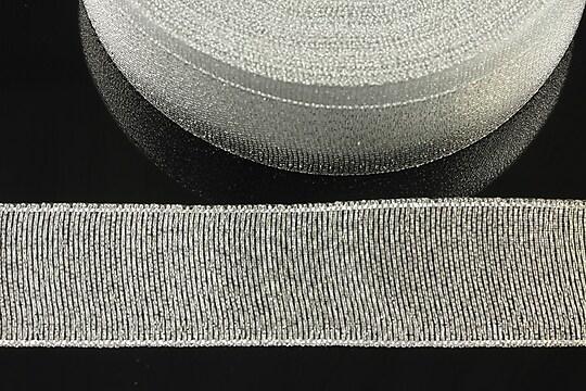 Panglica cu fir argintiu, latime 2,5cm (1m)
