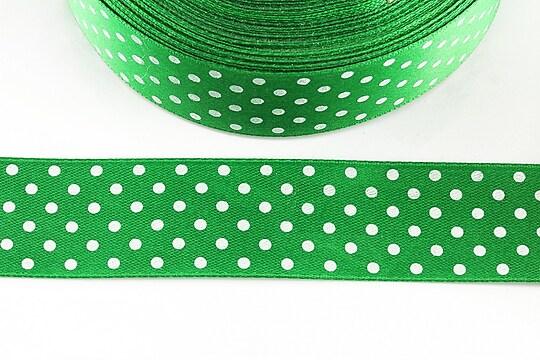 Panglica saten verde cu buline albe latime 2,4cm (1m)