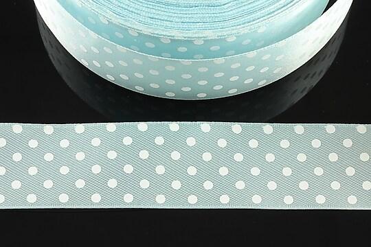 Panglica saten bleu cu buline albe latime 2,4cm (1m)
