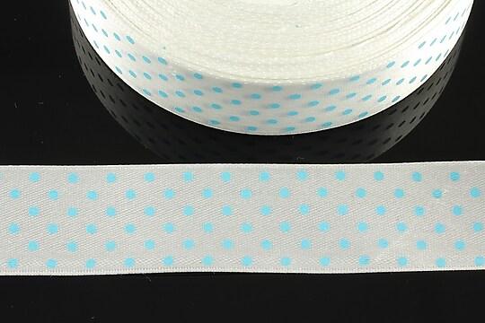 Panglica saten alba cu buline albastre latime 2,4cm (1m)