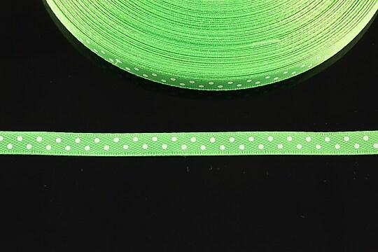 Panglica saten verde cu buline albe latime 0,6cm (1m)