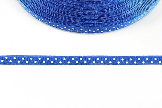 Panglica saten albastra cu buline albe latime 0,6cm (1m)