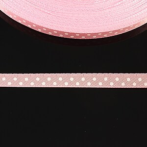 Panglica saten roz cu buline albe latime 0,6cm (1m)