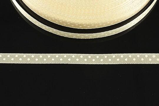 Panglica saten ivory cu buline albe latime 0,6cm (1m)