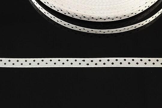 Panglica saten alba cu buline negre latime 0,6cm (1m)