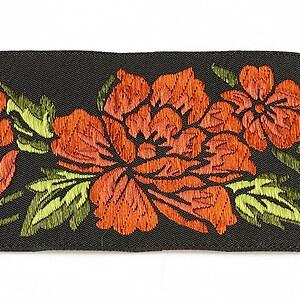 Panglica neagra brodata cu trandafiri, latime 5cm (1m) - verde si portocaliu