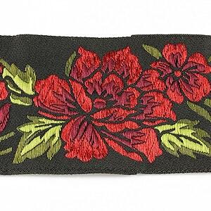 Panglica neagra brodata cu trandafiri, latime 5cm (1m) - verde si rosu