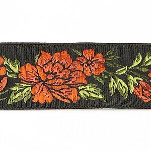 Panglica neagra brodata cu trandafiri, latime 3,2cm (1m) - verde si portocaliu