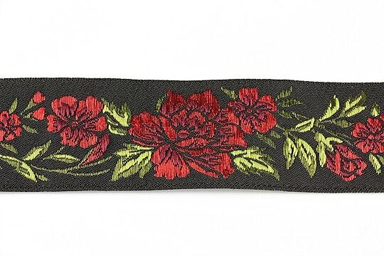 Panglica neagra brodata cu trandafiri, latime 3,2cm (1m) - verde si rosu