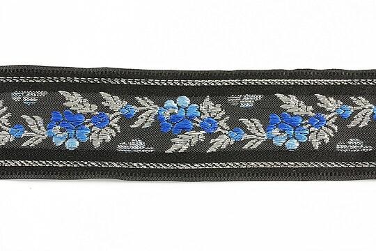 Panglica neagra brodata cu trandafiri, latime 3,2cm (1m) - argintiu si albastru