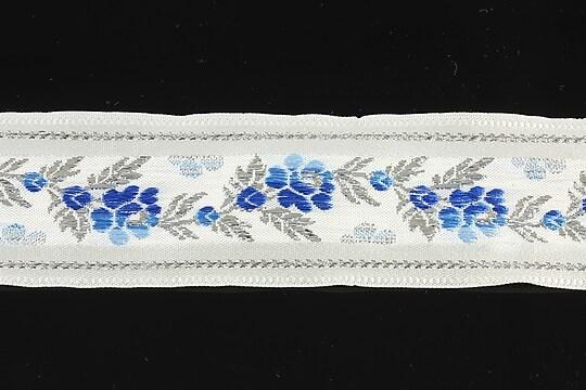 Panglica alba brodata cu trandafiri, latime 3,2cm (1m) - argintiu si albastru