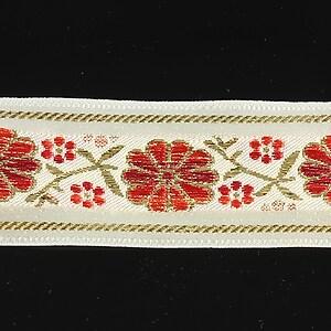 Panglica alba brodata cu flori, latime 3,2cm (1m) - auriu si rosu