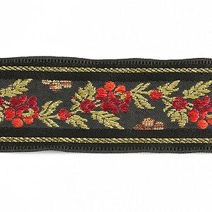 Panglica neagra brodata cu trandafiri, latime 3,2cm (1m) - auriu si rosu