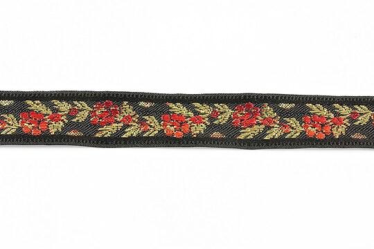 Panglica neagra brodata cu trandafiri, latime 1,7cm (1m) - auriu si rosu