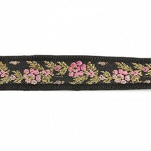 Panglica neagra brodata cu trandafiri, latime 1,7cm (1m) - auriu si roz