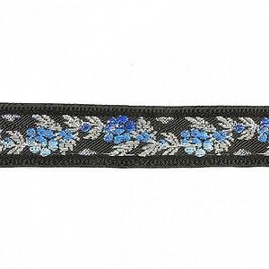 Panglica neagra brodata cu trandafiri, latime 1,7cm (1m) - argintiu si albastru