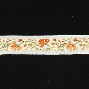 Panglica alba brodata cu flori, latime 1,7cm (1m) - auriu si portocaliu
