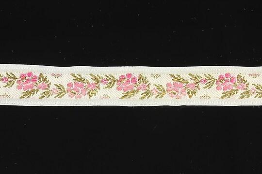 Panglica alba brodata cu trandafiri, latime 1,7cm (1m) - auriu si roz