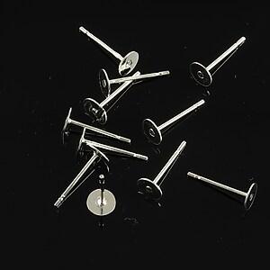 Baza cercei cu surub, platou 5mm, argintie (2 buc.)