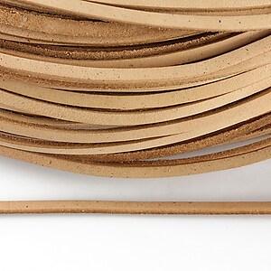 Snur piele naturala plat, latime 2,5mm (1m) - crem