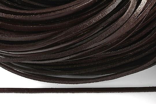 Snur piele naturala plat, latime 2,5mm (1m) - maro inchis