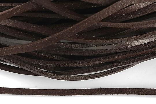 Snur piele naturala plat, latime 4mm (1m) - maro inchis