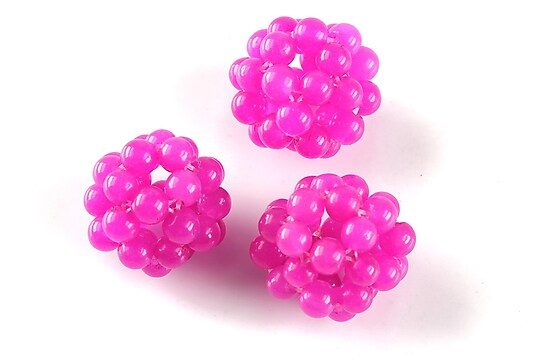 Bulgarasi jad 18mm din margelute de 4mm - fucsia